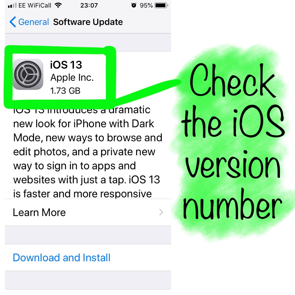 Check iOS version number
