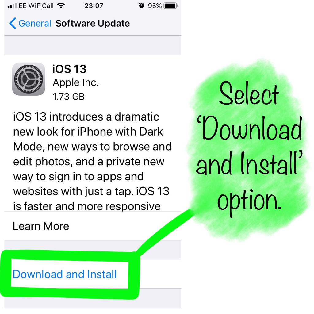 Download and Install option iPhone