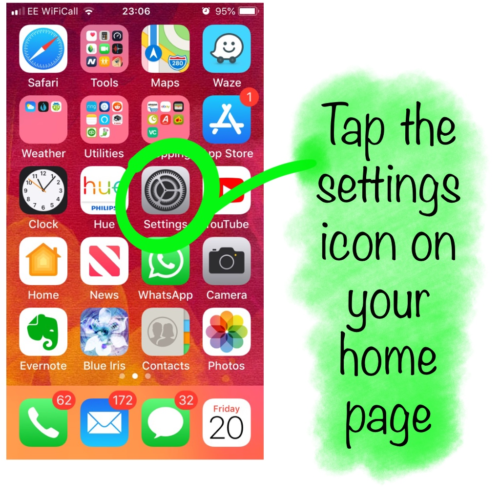 Select settings on iPhone home screen