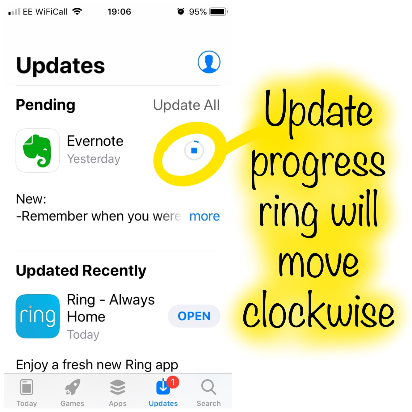 App Update progress ring
